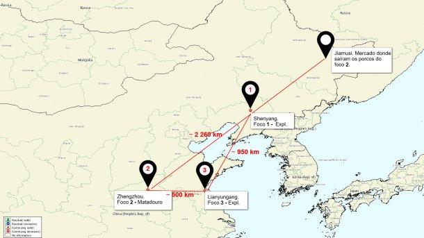 Mapa da situação dos focos de PSA na China