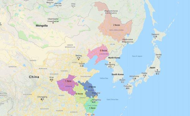Provincias afectadas por la PPA y número de focos (actualizado a 10 de septiembre)